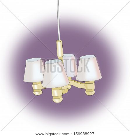 Chandelier  with four lamps over a violet background.