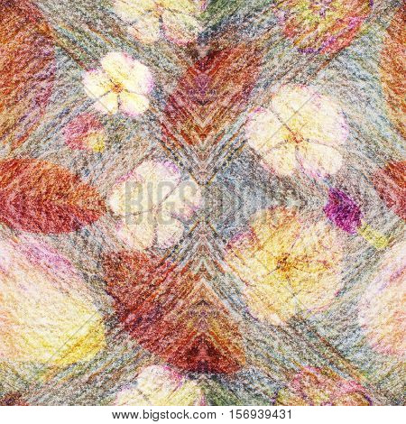 Vintage style collage background seamless colorful pattern for scrapbook batik pattern with apple buds. Kaleidoscope for cushion blanket pillow plaid tablecloth cloth bandanna shawl