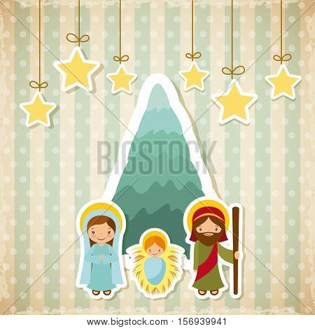 holy family manger scene with decorative stars hanging. merry christmas colorful design. vector illustration