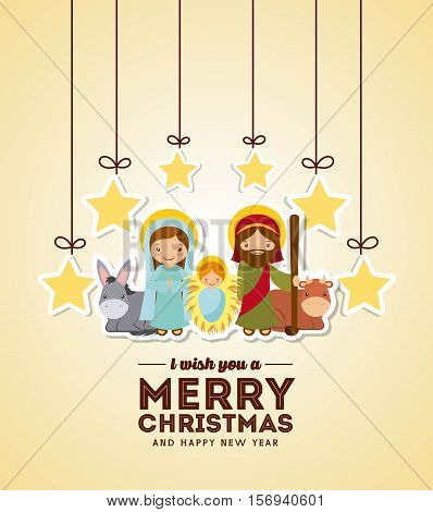 holy family manger scene with stars hanging. merry christmas colorful design. vector illustration