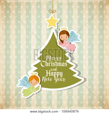 colorful merry christmas card with green pine tree icon. vector illustration