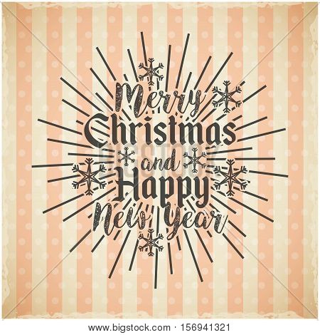 colorful merry christmas and happy new year card. vector illustration