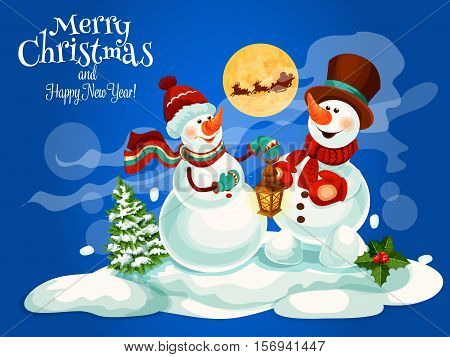 Merry Christmas and Happy New Year greeting card with vector cartoon snowman in knitted scarfs and hats, christmas tree in snow, holly leaf wreath, reindeer with santa in sleigh with reindeer and gifts sack
