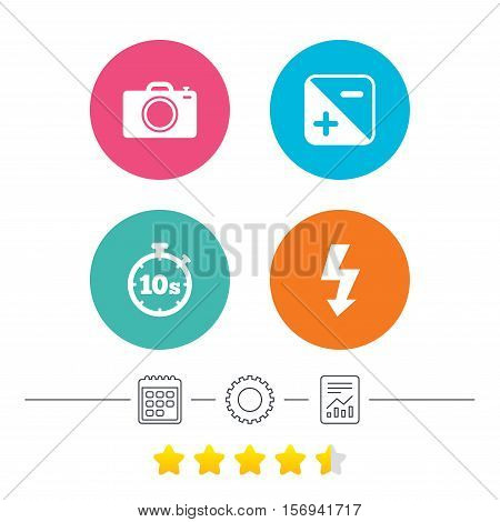 Photo camera icon. Flash light and exposure symbols. Stopwatch timer 10 seconds sign. Calendar, cogwheel and report linear icons. Star vote ranking. Vector