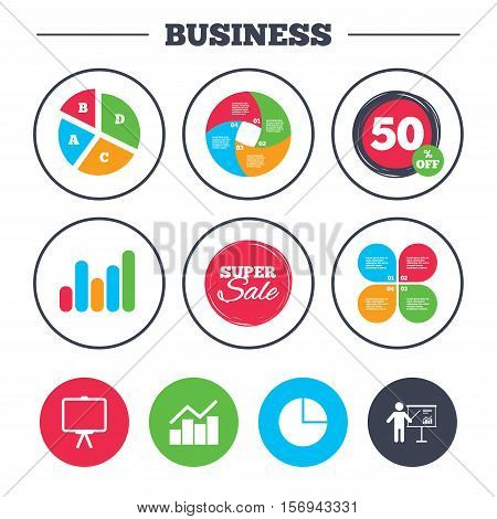 Business pie chart. Growth graph. Diagram graph Pie chart icon. Presentation billboard symbol. Man standing with pointer sign. Super sale and discount buttons. Vector