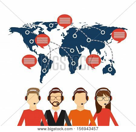 customer service workers with headset and world map with speech bubble . export and import colorful design. vector illustration