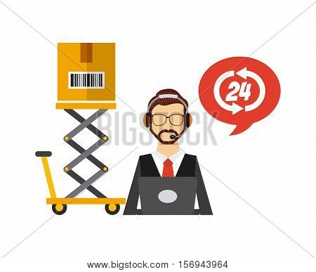 logistics support worker and lift cart with carton box. export and import colorful design. vector illustration