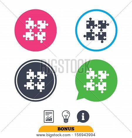 Puzzles pieces sign icon. Strategy symbol. Ingenuity test game. Report document, information sign and light bulb icons. Vector