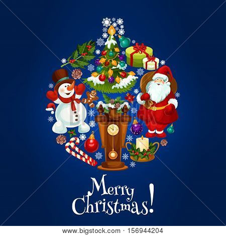 Merry Christmas greeting card, poster. Vector christmas ball ornament designed of candle, holly wreath, christmas stocking, snowman in scarf and mittens, santa, gifts, gingerbread, poinsettia star flower, snowflake, candy cane, cone, chimes clock