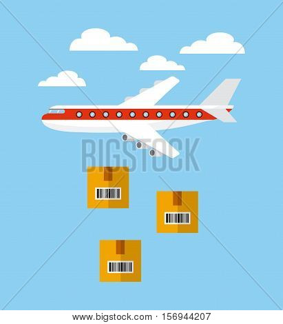 airplane flying in the sky and carton boxes. export and import colorful design. vector illustration