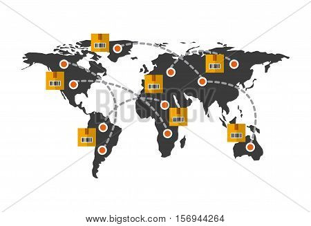 world map with carton boxes and arrows connection. export and import colorful design. vector illustration