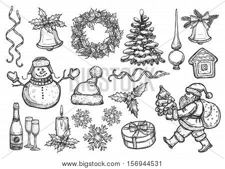 Christmas, New Year isolated sketch icons set. Vector santa with gifts bag, holly wreath, christmas tree ornament, topper spire, gingerbread house, snowflakes, bell with bow, ribbons, snowman, champagne glasses, candle, winter hat, mittens poster