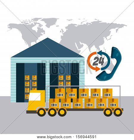 world map with warehouse and cargo truck vehicle. export and import colorful design. vector illustration