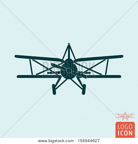 Plane. Retro biplane. Old airplane icon Vector illustration