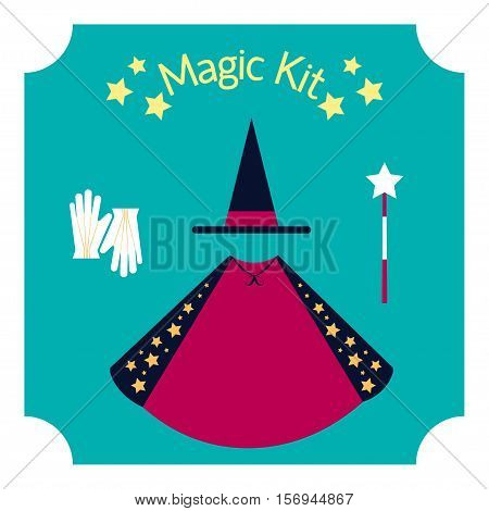 Set of magician Vector illustration Glove, hat, cape and magic wand Poster with set of clothes of magician Flat design
