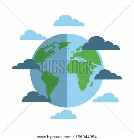 earth planet sphere and blue clouds over white background. vector illustration