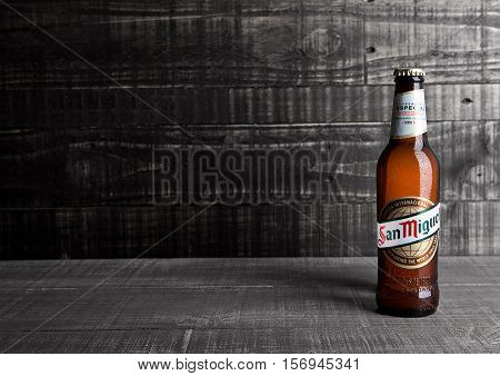 LONDON UK- NOVEMBER 15 2016: Cold bottle of San Miguel beer. The San Miguel brand of beer is the leading brand of the San Miguel Brewery Inc the largest beer producer in the Philippines.