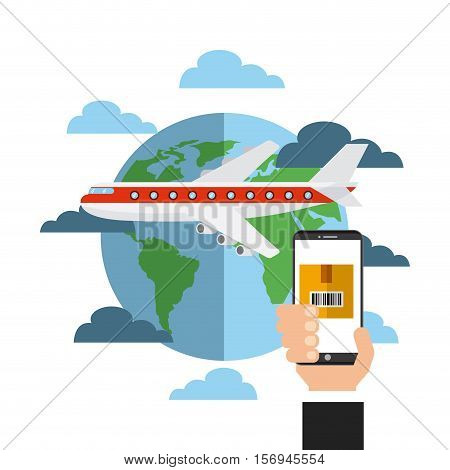 airplane with earth planet and human hand holding a smartphone device.export and import colorful design. vector illustration