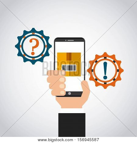 gears wheels and human hand holding a smartphone device.export and import colorful design. vector illustration