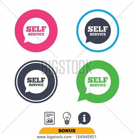 Self service sign icon. Maintenance symbol in speech bubble. Report document, information sign and light bulb icons. Vector