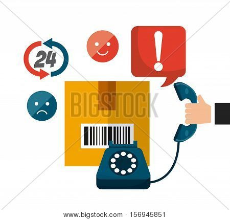 carton box with logistic icons around. export and import colorful design. vector illustration