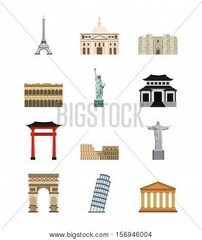 iconic buildings of world cities icons set over white background. colorful design. vector illustration