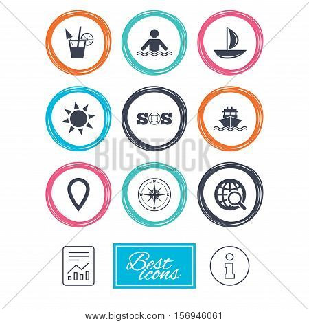 Cruise trip, ship and yacht icons. Travel, cocktail and sun signs. Sos, windrose compass and swimming symbols. Report document, information icons. Vector