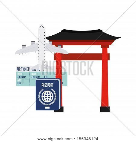 airplane and passport and air ticket with iconic building of china over white background. vector illustration