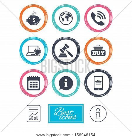 Online shopping, e-commerce and business icons. Auction, phone call and information signs. Piggy bank, calendar and smartphone symbols. Report document, information icons. Vector