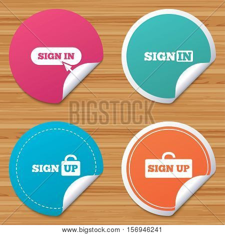 Round stickers or website banners. Sign in icons. Login with arrow, hand pointer symbols. Website or App navigation signs. Sign up locker. Circle badges with bended corner. Vector