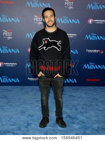 Pete Wentz of Fall Out Boy at the AFI FEST 2016 Premiere of 'Moana' held at the El Capitan Theatre in Hollywood, USA on November 14, 2016.