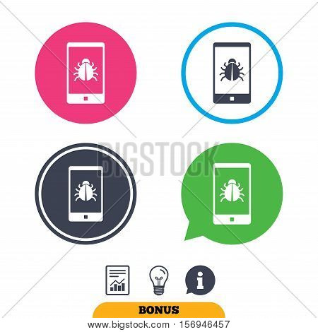 Smartphone virus sign icon. Software bug symbol. Report document, information sign and light bulb icons. Vector