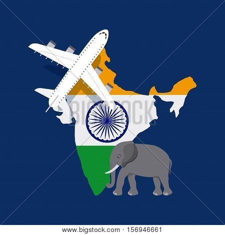 airplane and elephant icon over india country map with flag colors over blue background. vector illustration