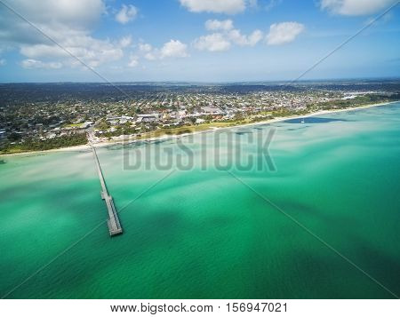 Aerial View Of Rosebud Pier And Coastline, Melbourne, Australia