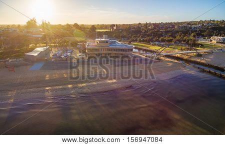 Aerial View Of Frankston Yacht Club At Sunrise, Australia
