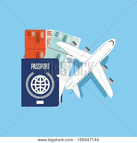 airplane with passport and boarding pass icons over blue background. colorful design. vector illustration