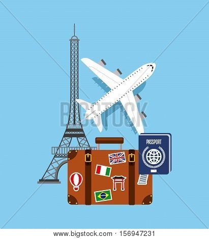 airplane icon with travel suit case and eiffel tower icons over blue background. colorful design. vector illustration
