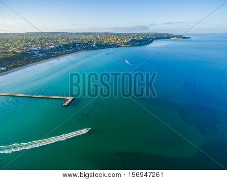 Aerial View Of Frankston Pier And Speedboat Australia