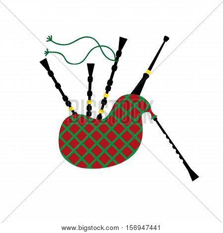 Vector illustration of a bagpipe isolated on the white background.