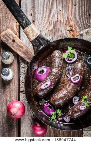 Tasty Black Pudding With Parsley And Onion