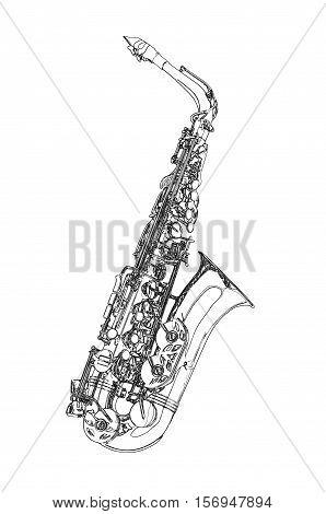 Saxophone - Alto saxophone classical instrument Sketch