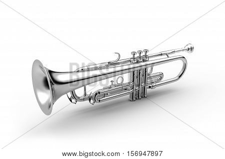 Trumpet classical instrument isolated on white 3D illustration Black & White Image