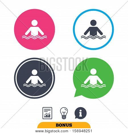 Swimming sign icon. Pool swim symbol. Sea wave. Report document, information sign and light bulb icons. Vector