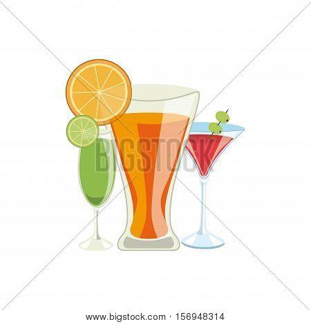 cocktails drinks over white background. colorful design. vector illustration