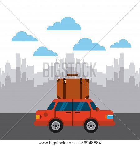 brown suitcase on red car over city background. colorful design. vector illustration