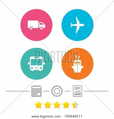 Transport icons. Truck, Airplane, Public bus and Ship signs. Shipping delivery symbol. Air mail delivery sign. Calendar, cogwheel and report linear icons. Star vote ranking. Vector