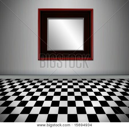 Retro style interior with red framed mirror