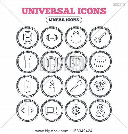 Universal icons. Fitness dumbbell, home key and candle. Toilet paper, knife and fork. Microwave oven. Circle flat buttons with linear icons. Vector