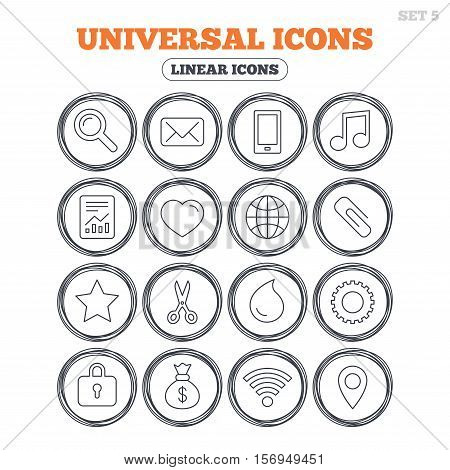 Universal icons. Smartphone, mail and musical note. Heart, globe and share symbols. Paperclip, scissors and water drop. Circle flat buttons with linear icons. Vector