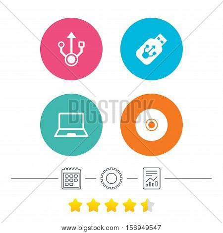 Usb flash drive icons. Notebook or Laptop pc symbols. CD or DVD sign. Compact disc. Calendar, cogwheel and report linear icons. Star vote ranking. Vector